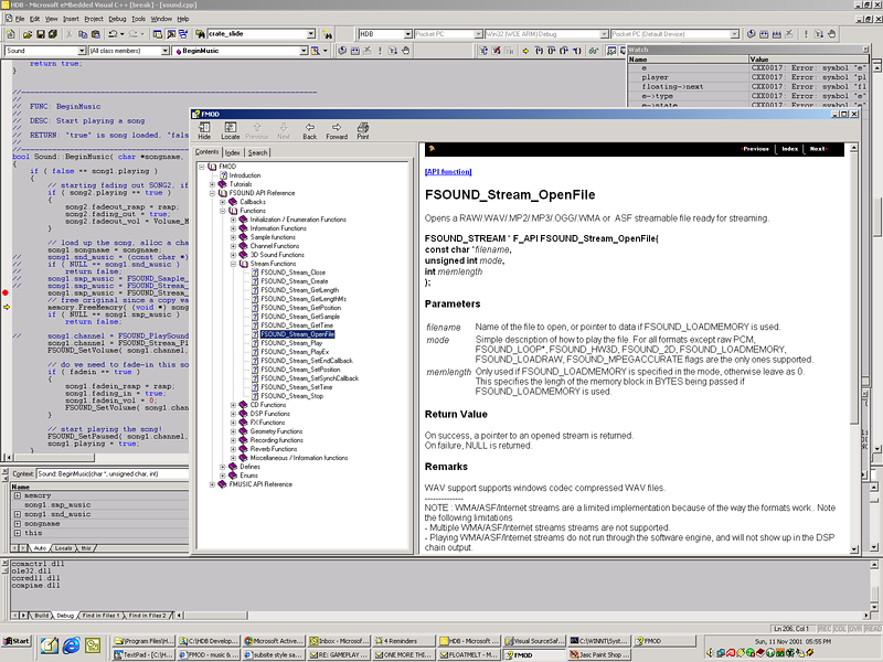 Here I'm looking up some documentation in the FMOD sound library as I code the sound layer for HDB.  FMOD is just AWESOME!