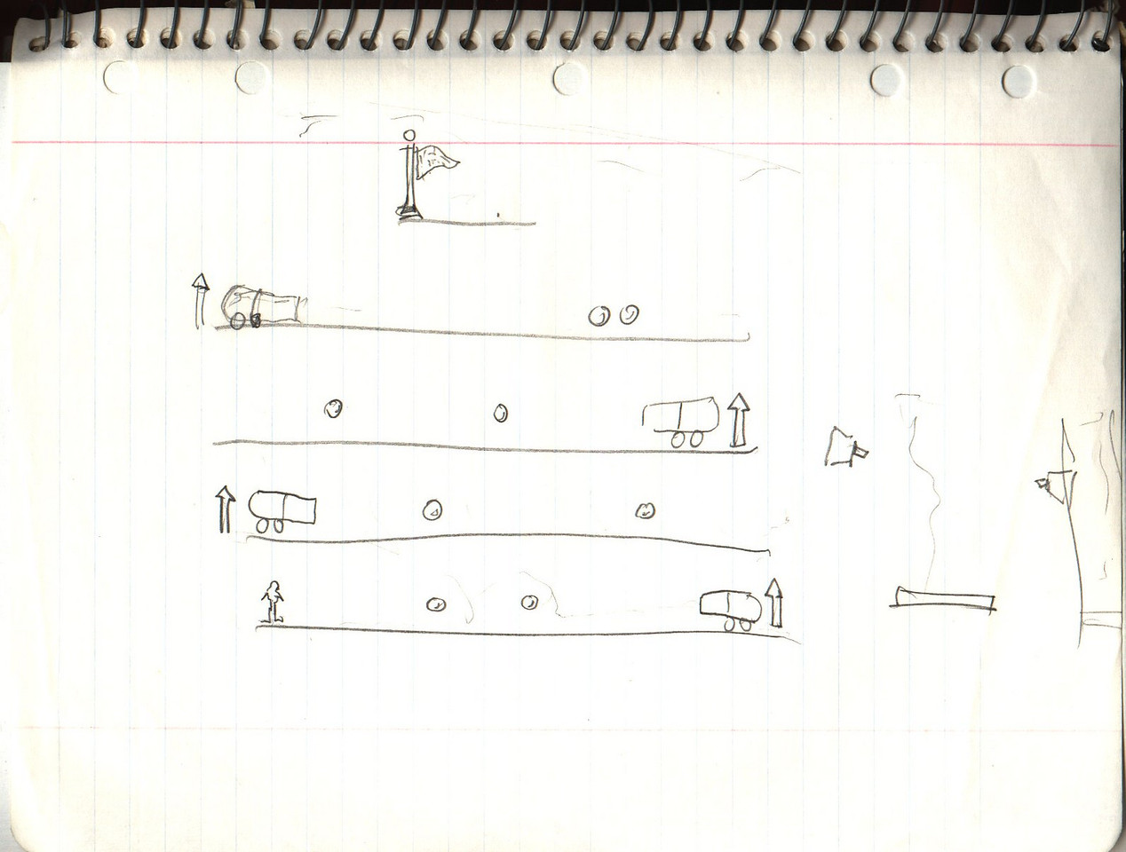 This was my initial sketch for what I thought the game could be, with the first level on the left and the 2nd level on the right.
