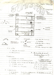 This was my design page for Jumpster and you'll see I was getting ambitious with adding new enemies.  The problem was that I thought it was too similar to Jawbreaker II so I changed it to be simpler.  It also looks like I was planning on using Graphics Magician for the animation back then.  But I didn't - it's all my own code and none of Mark Pelczarski's!  Evidently, this made Mark resort to teaching college many years later.