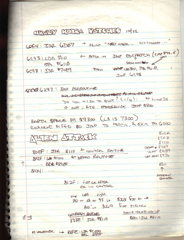 Here's the page of notes I wrote while I was planning the hacks I had to do to the game to make it conform to UpTime's menu shell.  This was 4 years after I wrote the game and lost the source code.  So I had to manually hack the machine code.