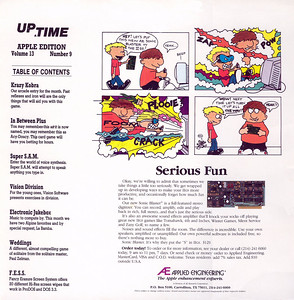 The back cover.  Notice the Applied Engineering ad.  Most people were afraid to touch their interface cards but these cartoon bozos have no qualms about possibly blowing up this $130 card.  Make sure you have an iron will or you won't survive Krazy Kobra!