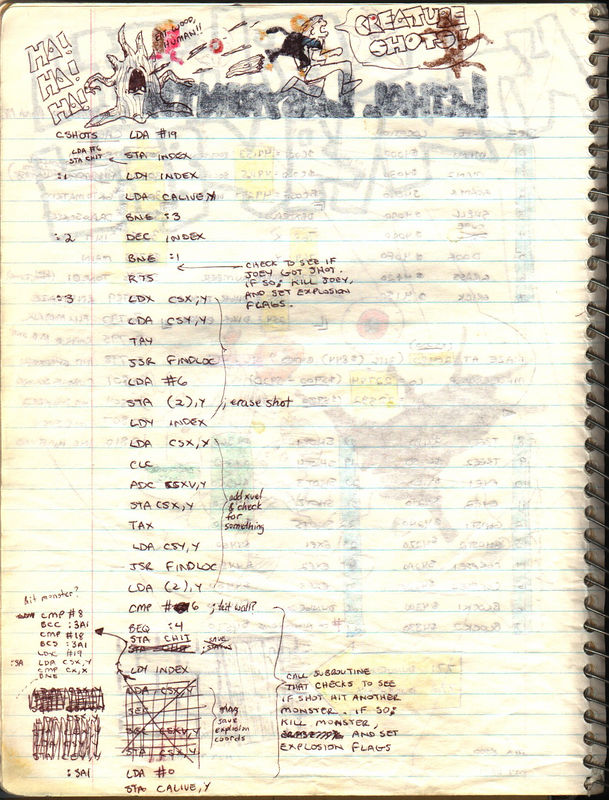 The second page and some actual code for the monsters shooting at the player (Joey)