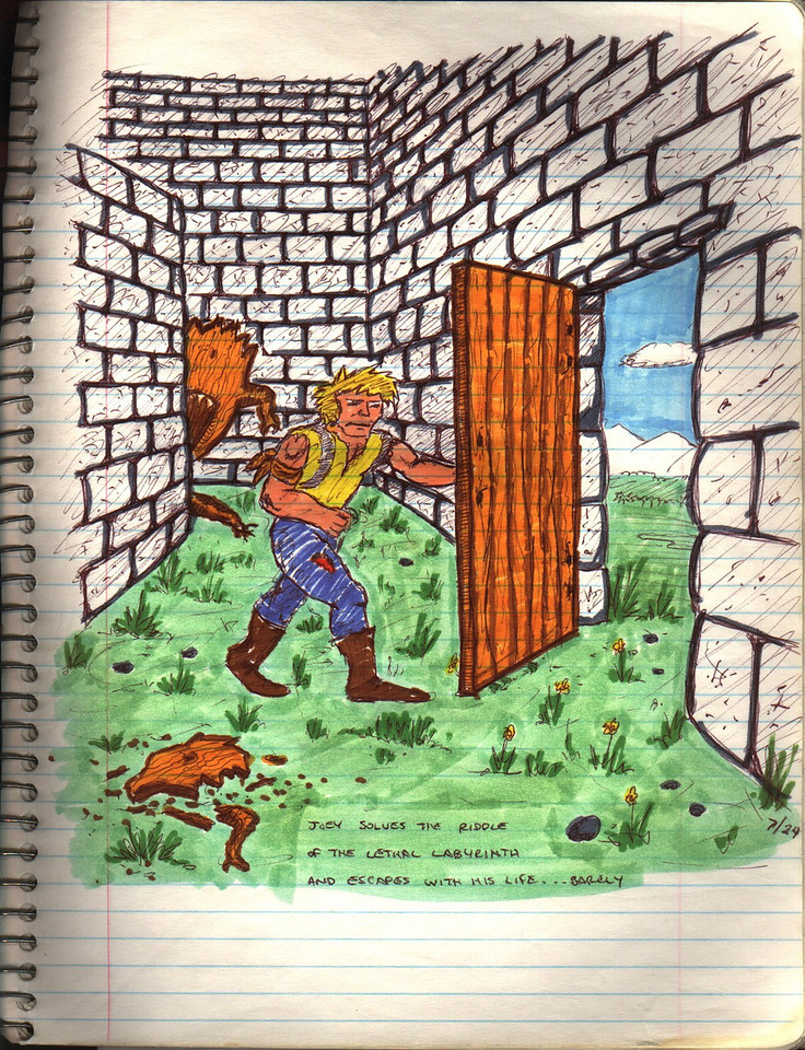 Finally Joey exits the maze......and i've finished writing the game and am out the door....