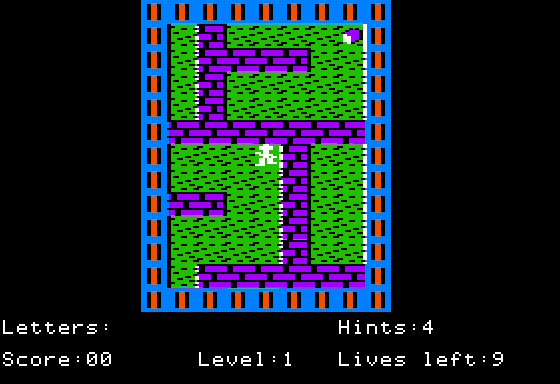 The same level but running in hires with no letters gathered.