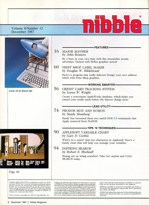 The table of contents...but what's more important is....MY GAME SHARES A PAGE WITH MANIAC MANSION!