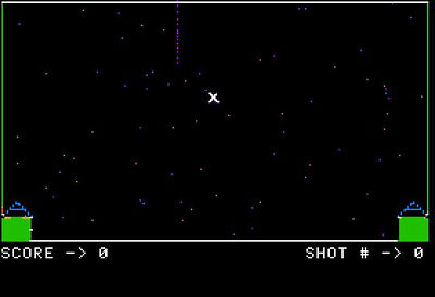 Fun times abound in BASIC Land!  If you can see your cursor you should use it to shoot down the enemy missiles.  Or not.