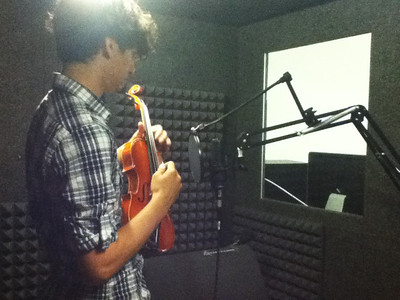 Jordan recording sounds in the studio for NutWarz.