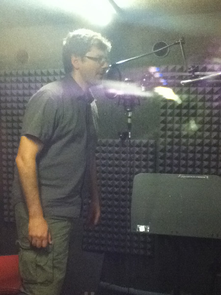 PJ recording sounds in the studio for NutWarz.