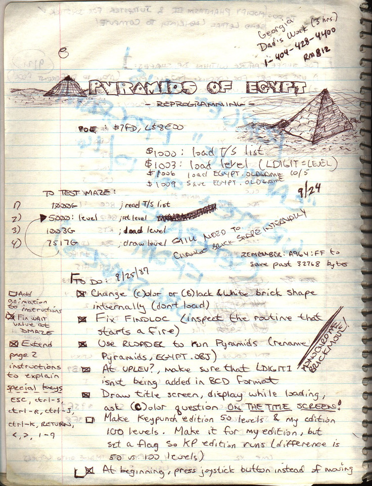 This is a page of notes that I made the year I was going to actually publish the game - I had to make some changes to polish it up a little.