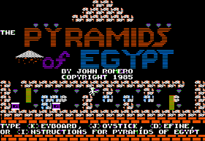 """Here's my title screen!  I think I drew the name of the game with line skipping because I was inspired by Nasir's """"Phantoms Five"""" game's look.  Or something.  The main character, Mike, runs through the little title maze there and repeats ad nauseum.  God that noise got irritating!"""