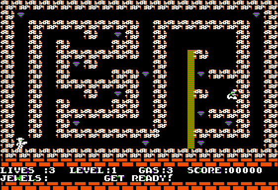 Welcome to level 1!  Basic rules: walk over the jewels to pick them up and avoid or burn the cobra.  If the cobra touches you, you scream and flip around with blood pumping out of your stomach.