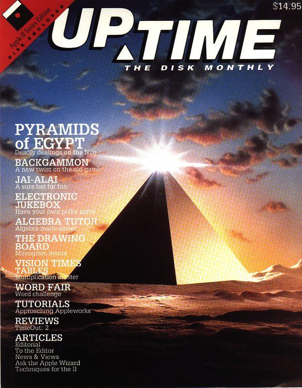 Pyramids of Egypt was published on UpTime Disk Monthly in 1987.  This is the front cover of the packaging material within which was the Apple II 5.25 floppy disk.  DEADLY DEALINGS ON THE NILE!  Somehow the Nile river figures into the game now....even though it's all just mazes and cobras.  And a stomach-bleeding main character named Mike (named after my first son Michael. Just kidding, Michael was born 3 years after I wrote this game.)