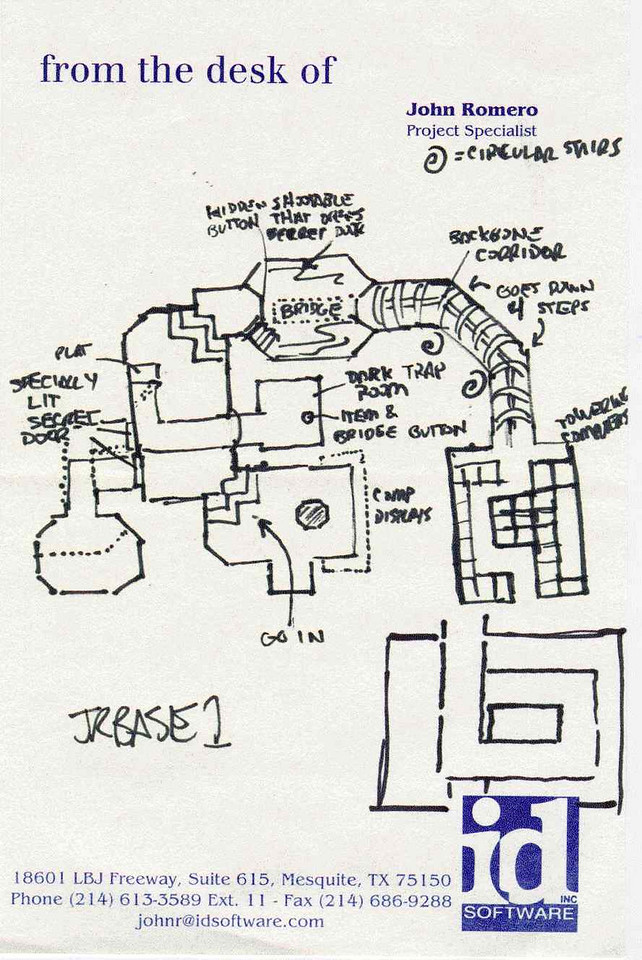 My original sketch for E1M1, the first map in Quake. This was on my pad of paper where I listed myself as Project Specialist because I did so many different things on our games.  The original filename of E1M1 was jrbase1. This map is for the inside of the base. Other sketches cover the outside area.