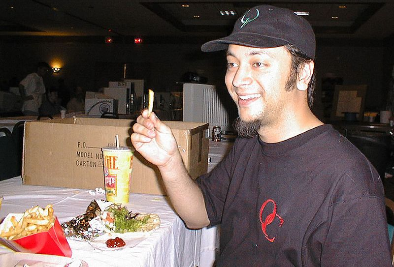 Monolith dips his fries into some nice cold mayonnaise.