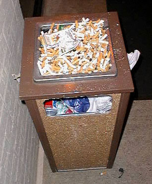 The ashtray was pretty full outside the door.