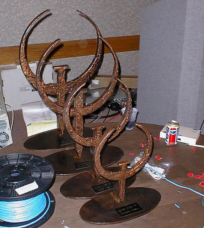 The gigantic iron quake tournament trophies.