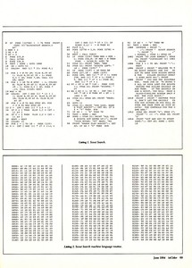 Here's the entire tiny game.  The first half is in BASIC, the second half is in 6502 machine language and is really the actual game code.  Back then, you could only make fast games if they were in assembler/machine language.  With Scout Search, I discovered that the secret to getting my games published was to have a bit of BASIC and a bit of 6502 assembler - a nice mix that actually made the code smaller because all the text printing and mundane code was kept short in BASIC and the exciting, fun game code was in 6502.