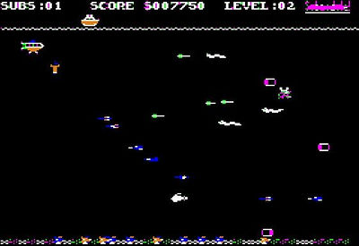 In-game action screenshot...your sub is at the top left just below the waves.  The ship just dropped a bomb and there are eels and a fish coming toward the player.  There's 3 manganese nodules for the player to collect here.