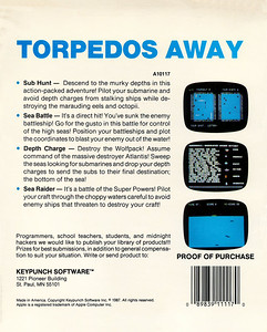 This is the back of the box.  Just to reiterate the point, this beautiful collection of games is titled Torpedos Away.  Mine is the first one in the list but the second screenshot down.  Awesome layout skills and planning.