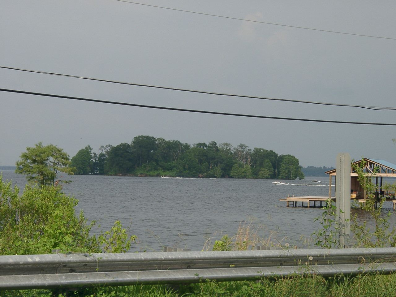 Here's a view of Cross Lake and the island we used to go kneeboarding around.