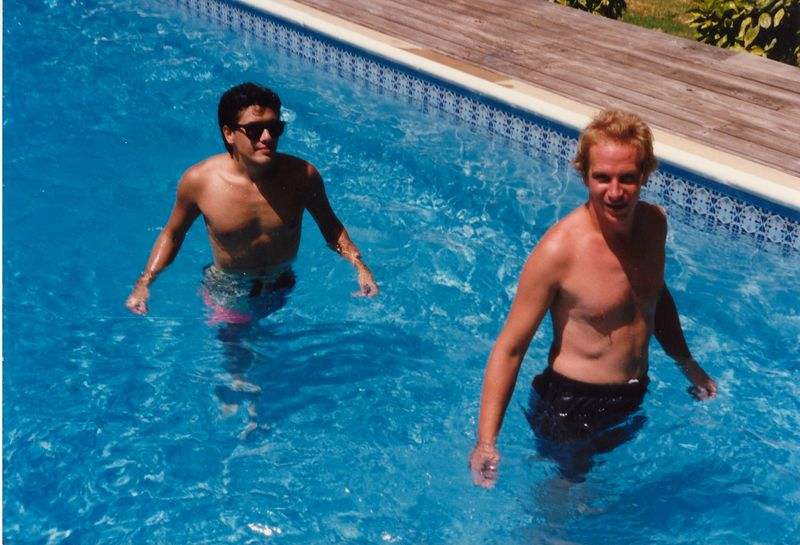 Here's another id lakehouse pic - this is me and Jay Wilbur in the swimming pool in the backyard.  Why was I wearing sunglasses in the pool?  They were prescription and I ran out of contact lenses! Heh.  This pic is from summer 1990.