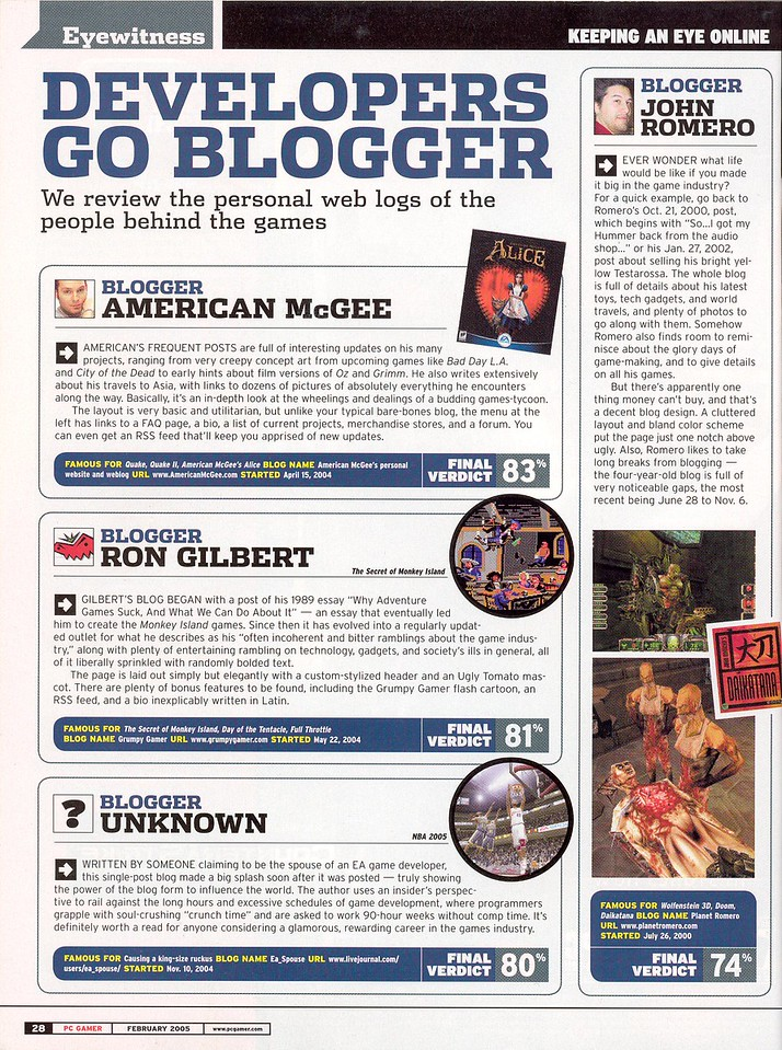 Here's an old article from PC Gamer's February 2005 issue.  I guess they weren't a fan of the old look and my infrequent postings.  I never claimed to be some current news site! Heh.    I think the latest change to a blog format would give me a higher rating next time! Oh, wait.  I don't care.