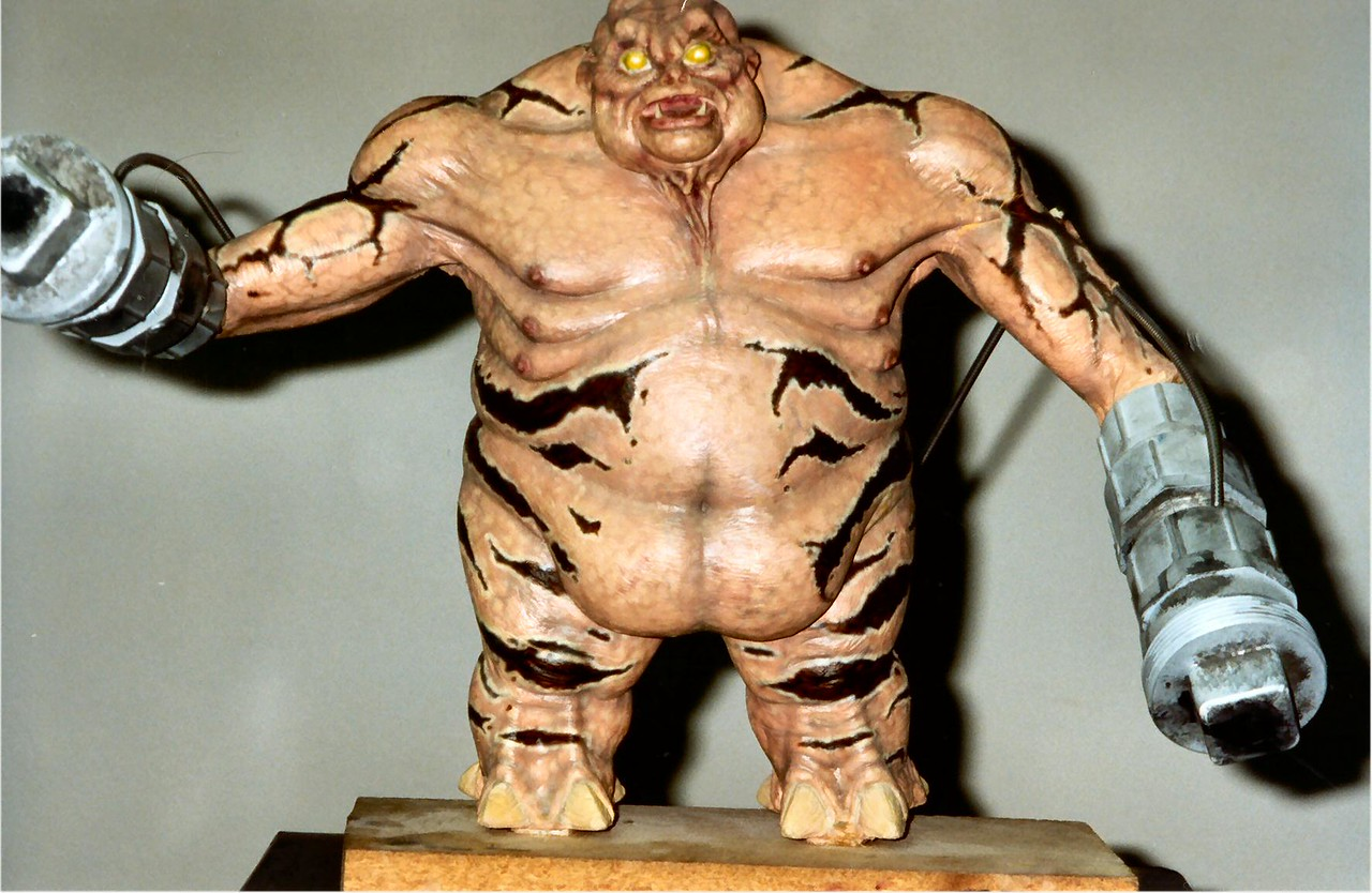 This is my wife Raluca's favorite monster in DOOM II - the Mancubus.  This is the model that Greg Punchatz created and we used a video camera to scan it in (8 rotations), clean up the pixels, and put it in the game.