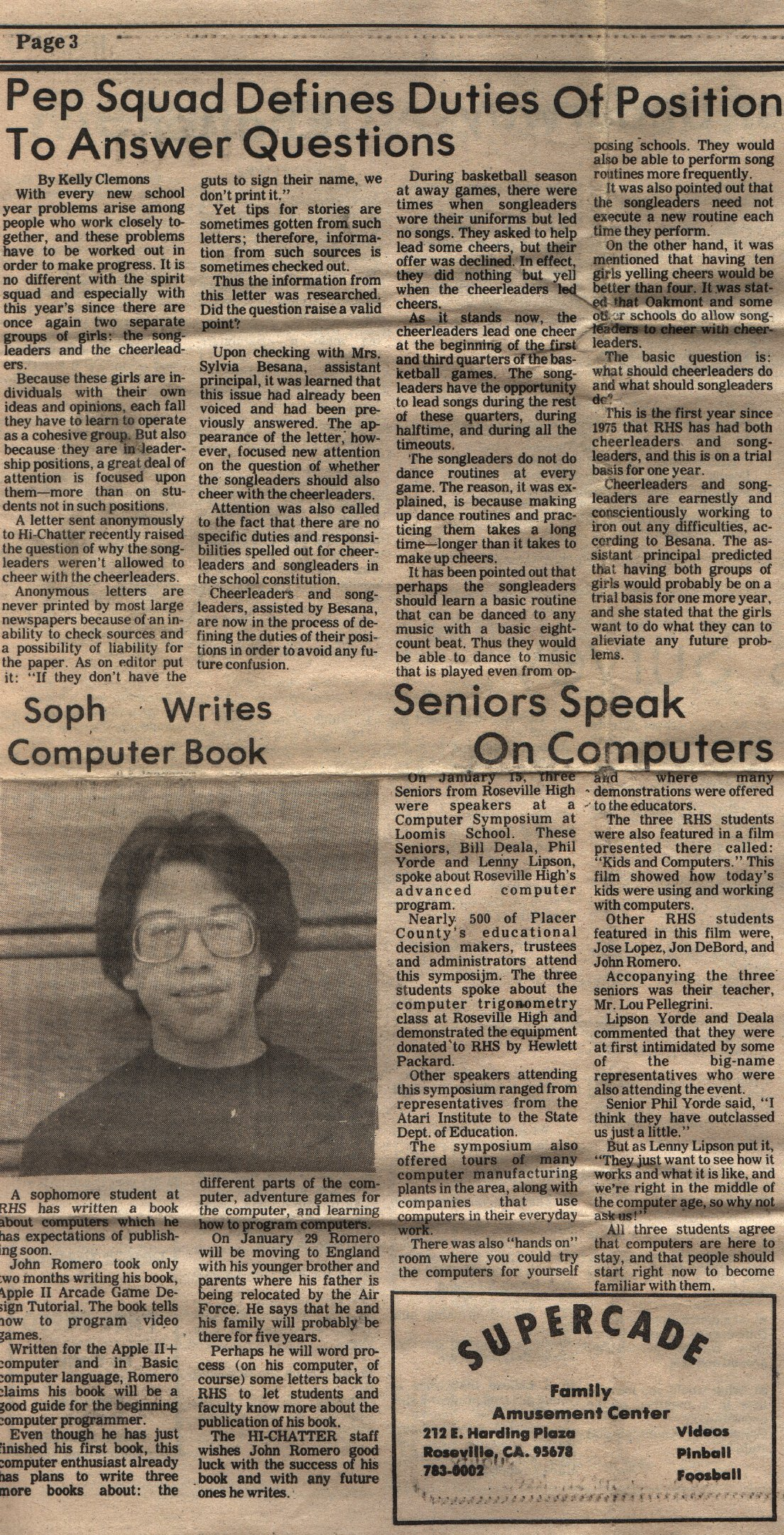 Back in 1982, just before moving to England during my sophomore year of high school (10th grade), I wrote a book about how to program Apple II arcade games and the school paper wrote about it.