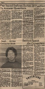 Back in 1982, just before moving to England during my sophomore year of high school (10th grade), I wrote a book about how to program Apple II arcade games and the school paper wrote about it.  LOVE THOSE MASSIVE GLASSES!  Also, the little ad for Supercade: I *LOVED* that place!  I used to go there alot.  In fact, it was there that I saw Donkey Kong the very first time.  I still remember the New Smell of that place, the way all the arcades smelled back then.....freshly minted arcade games finally unleashed....ahhhhhhh!