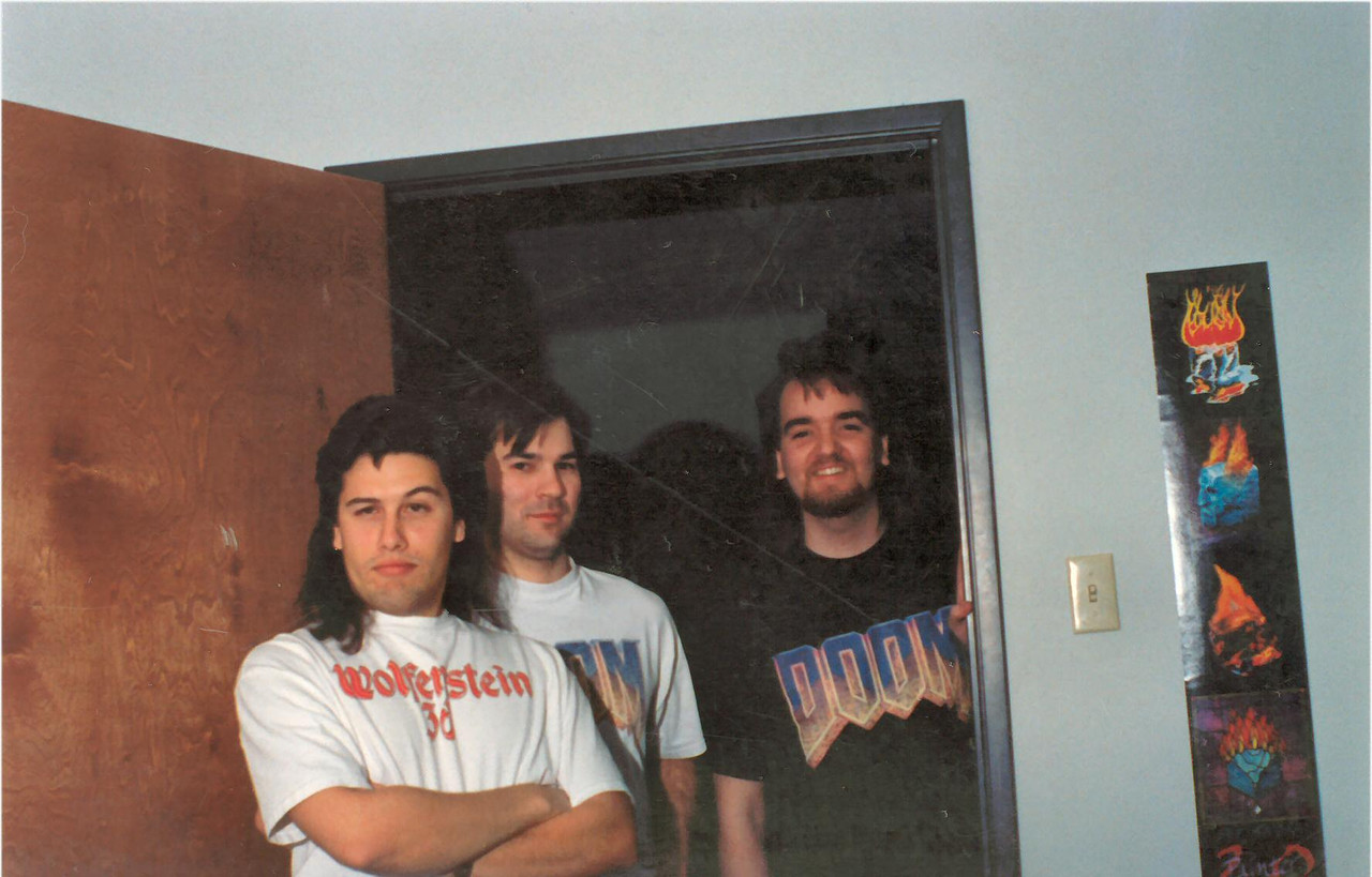 This is me, Kevin and Adrian posing for a pic during DOOM II development.  I'm always looking nutty in pics - cause i'm nutty!