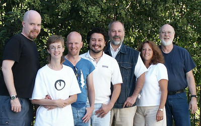 We had a mini Softdisk reunion in the summer of 2003 at Tom Hall's house.  From left to right are: Tom, Rhonda Reimers, Lane Roathe, me, Jim Weiler, Carolyn Drain, Fender Tucker.