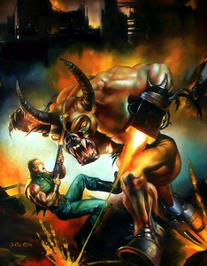 This is the original DOOM 2 box painting by Julie Bell.  I loved the pose but the Cyberdemon looks like a bull.  We chose to work with BROM for the final cover that you see on the DOOM 2 box.