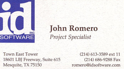 Here's my old id Software business card.  Since I did so many things (biz stuff, packaging guidance, exec producing, coding, level design, game design, audio, product mastering, etc.) I just named myself Project Specialist.