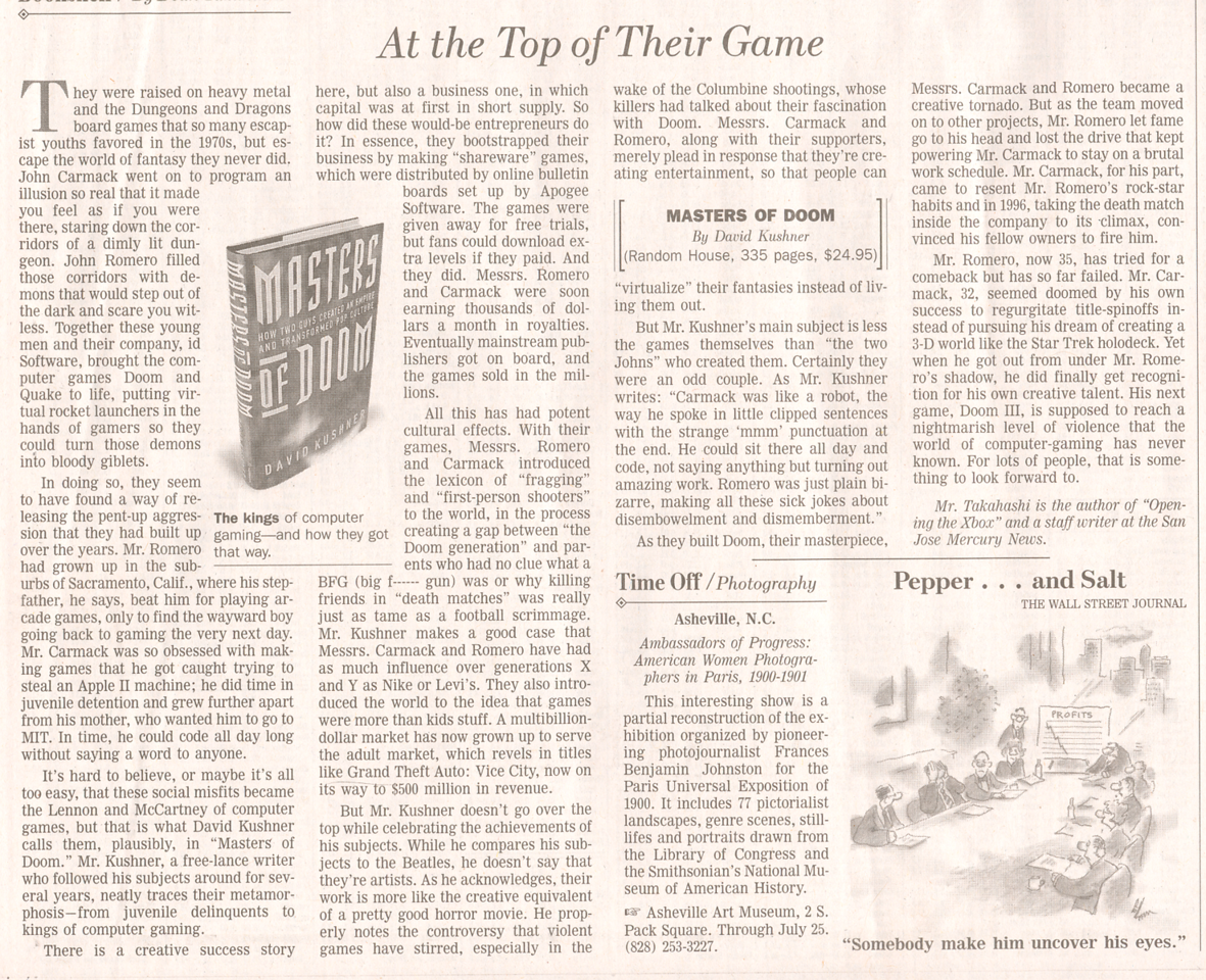 Wall Street Journal article on the book Masters of DOOM, 2003.