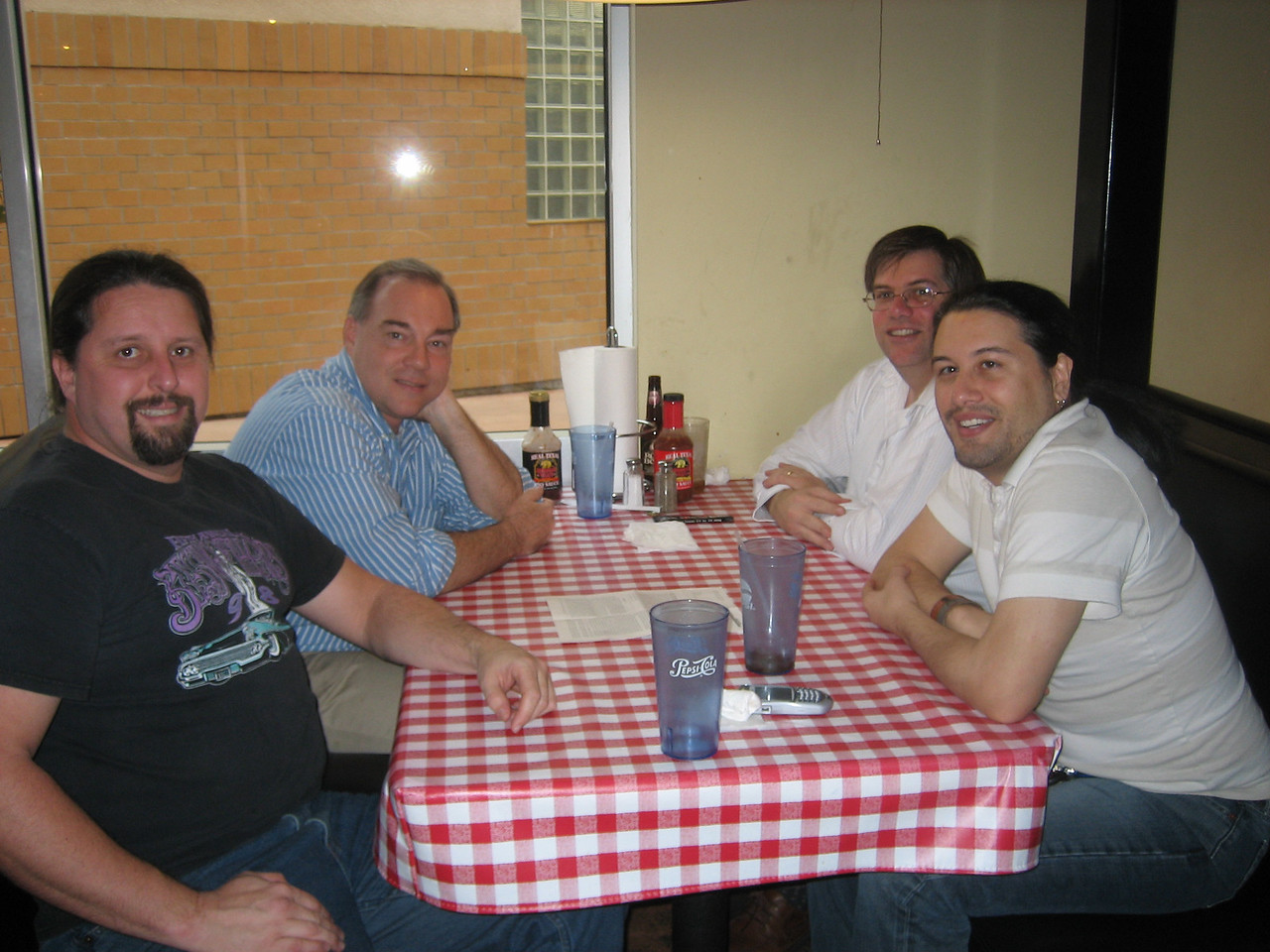 I had lunch with Warren Robinett (author of Adventure on the 2600, Rocky's Boots, co-founder of The Learning Company) recently along with my friends Jeff Buchanan (left front) and Chris Mayer (next to me).  Warren is incredibly brilliant and works nearby occasionally.