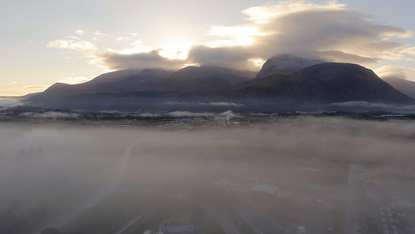 Stock Video 4K Ben Nevis Foggy Morning