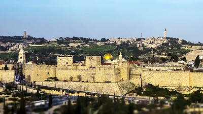 Jerusalem Old City walls and the Mount of Olives