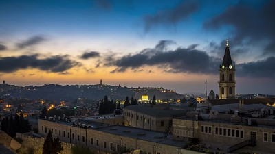 Time-lapse of sunrise over the Old City of Jerusalem and the Mount of Olives