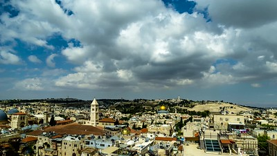 Clouds moving over the Old City and the Mount of Olives