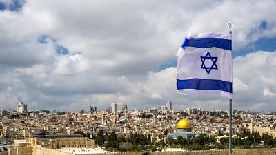 Large Israeli flag over the Old City Jerusalem, Israel; time lapse HD