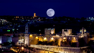 Super moon over Jerusalem