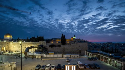 Sunrise over Western Wall plaza