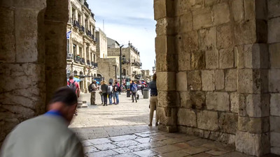 Walking through the Jaffa Gate, Jerusalem
