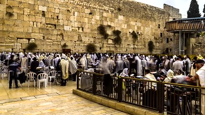 People praying at the Western Wall on the last day of Hanukkah