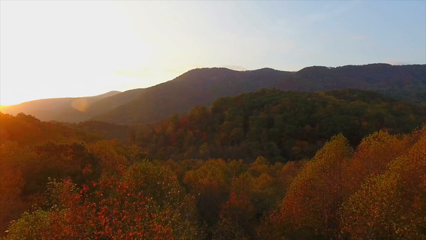 Aerial of Blue Ridge Mountains at Sunset