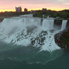 Aerial Flying Over Niagara Falls at Sunrise