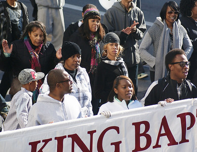 Baptist church members march in Denver on MLK Day.