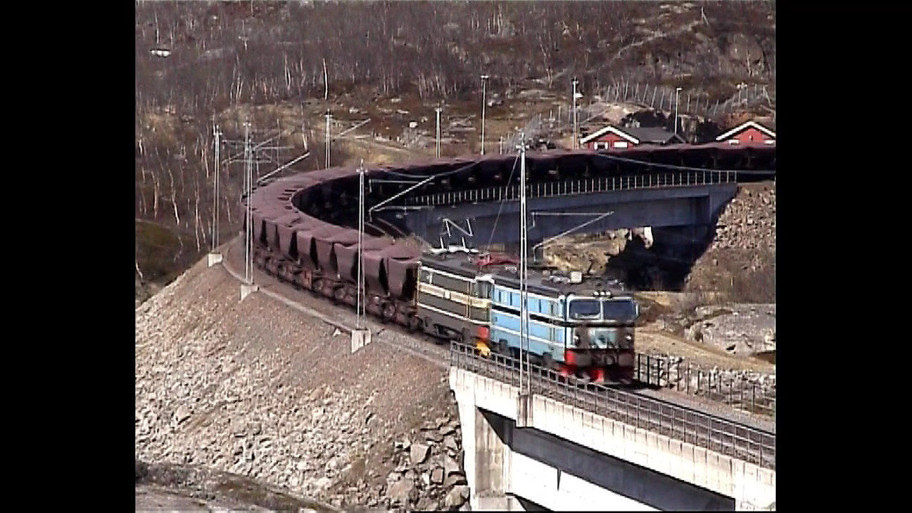 LKAB (MTAS) El 15 Uad New Norddal Bridge & Narvik Central station 2002-05-29 (1:39 min.)