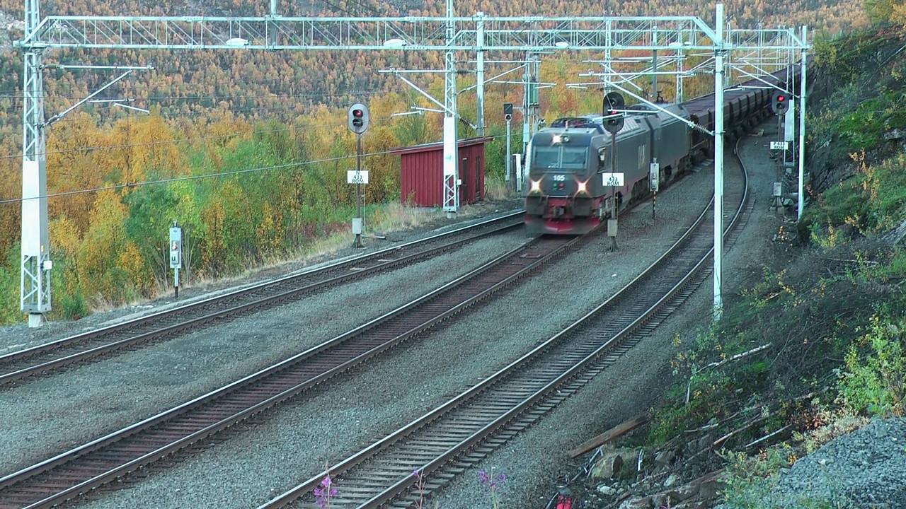 LKAB Iore 105 Narvik + 106 Gällivare, Rombak st. Ofotbanen 2010-09-18 (2:03 min.)