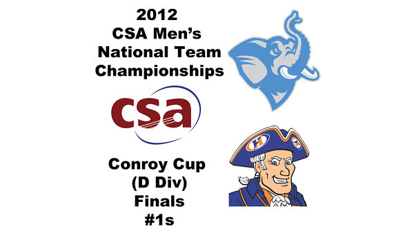 2012 Men's College Squash Association National Team Championships - Conroy Cup (D Division): Zachary Schweitzer (Tufts) and Corey Kabot (Hobart)